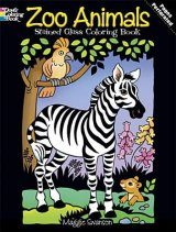 Zoo Animals Stained Glass Coloring Book Image