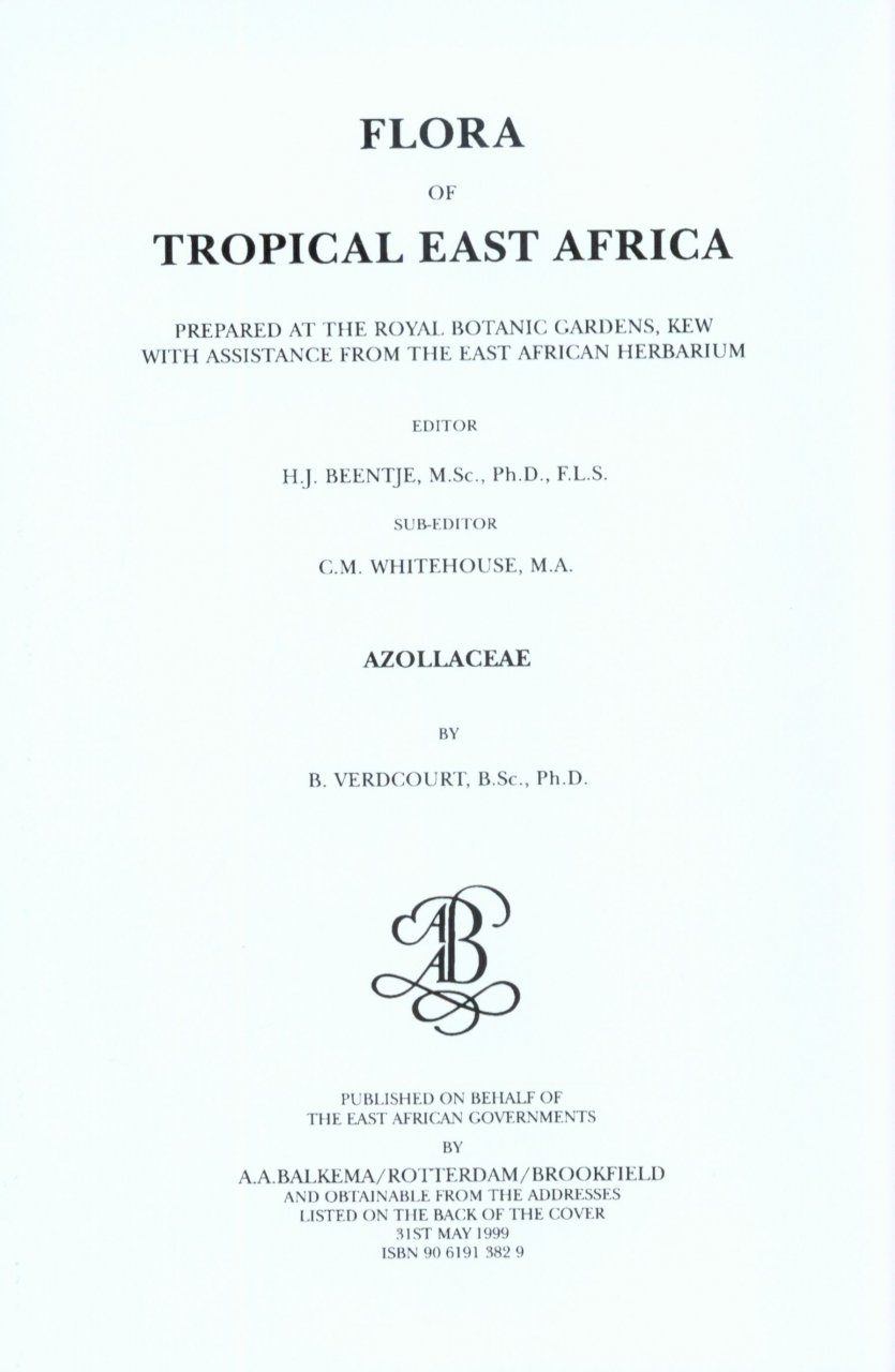 Flora of Tropical East Africa: Azollaceae