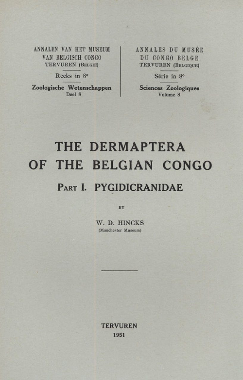 The Dermaptera of the Belgian Congo, Part I, Pygidicranidae