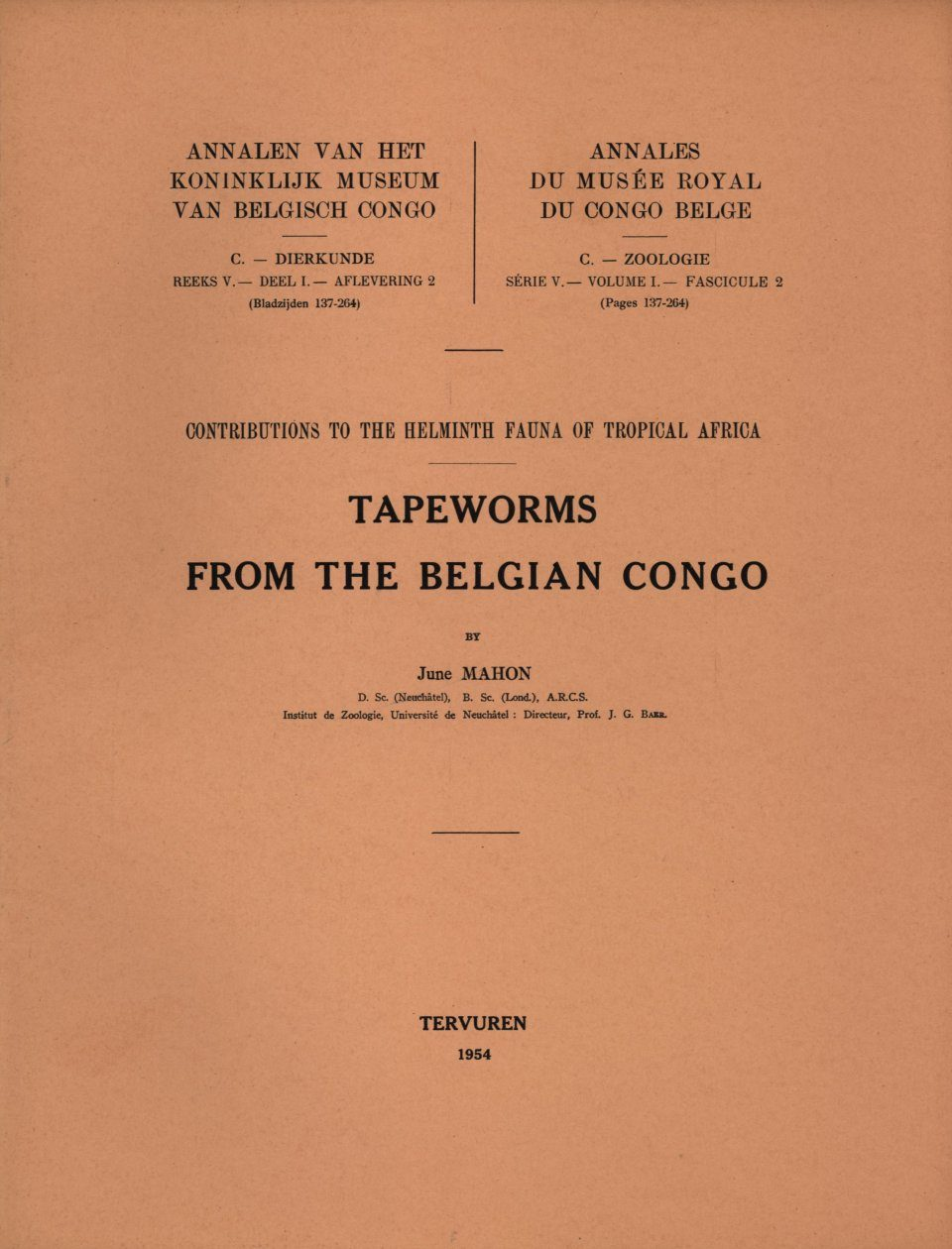 Contributions to the Helminth Fauna of Tropical Africa – Tapeworms from the Belgian Congo