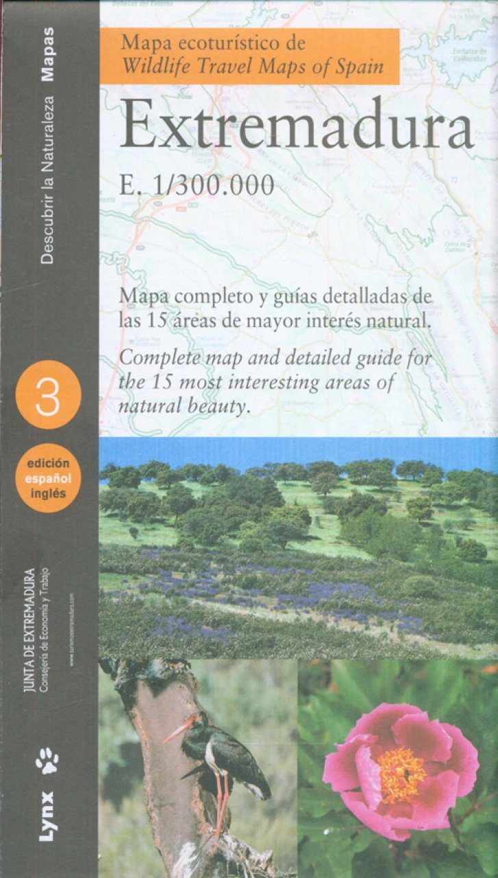 Wildlife Travel Map of Spain / Mapa Ecoturistico de Extremadura