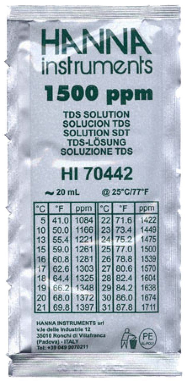 TDS 1500ppm Calibration Solution - 20ml Sachets