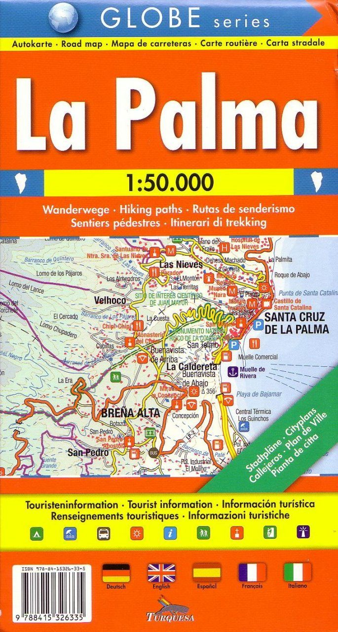 La Palma: Road Map - Hiking Paths - Tourist Information [Multilingual]