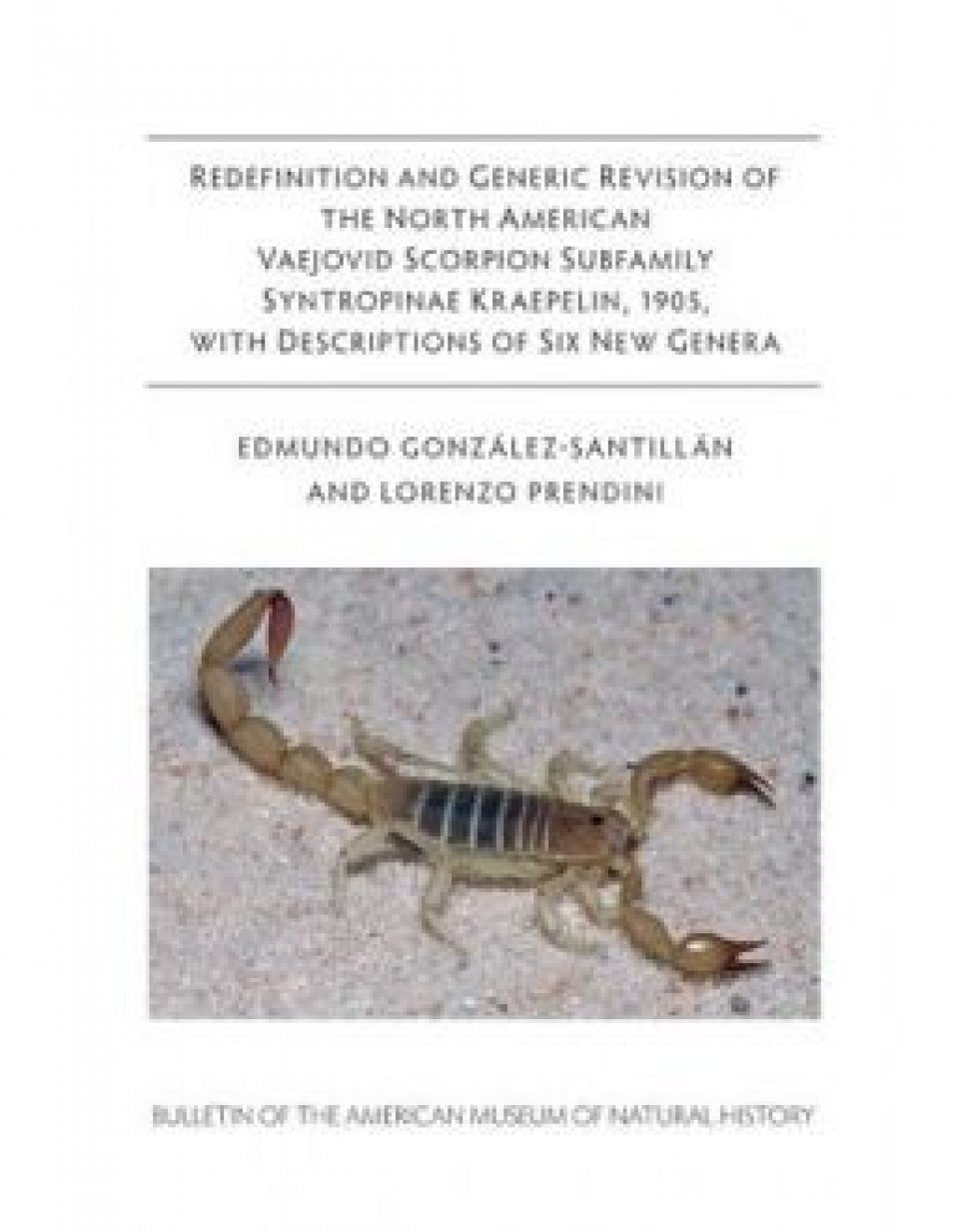 Redefinition and Generic Revision of the North American Vaejovid Scorpion Subfamily Syntropinae Kraepelin, 1905, with Descriptions of Six New Genera