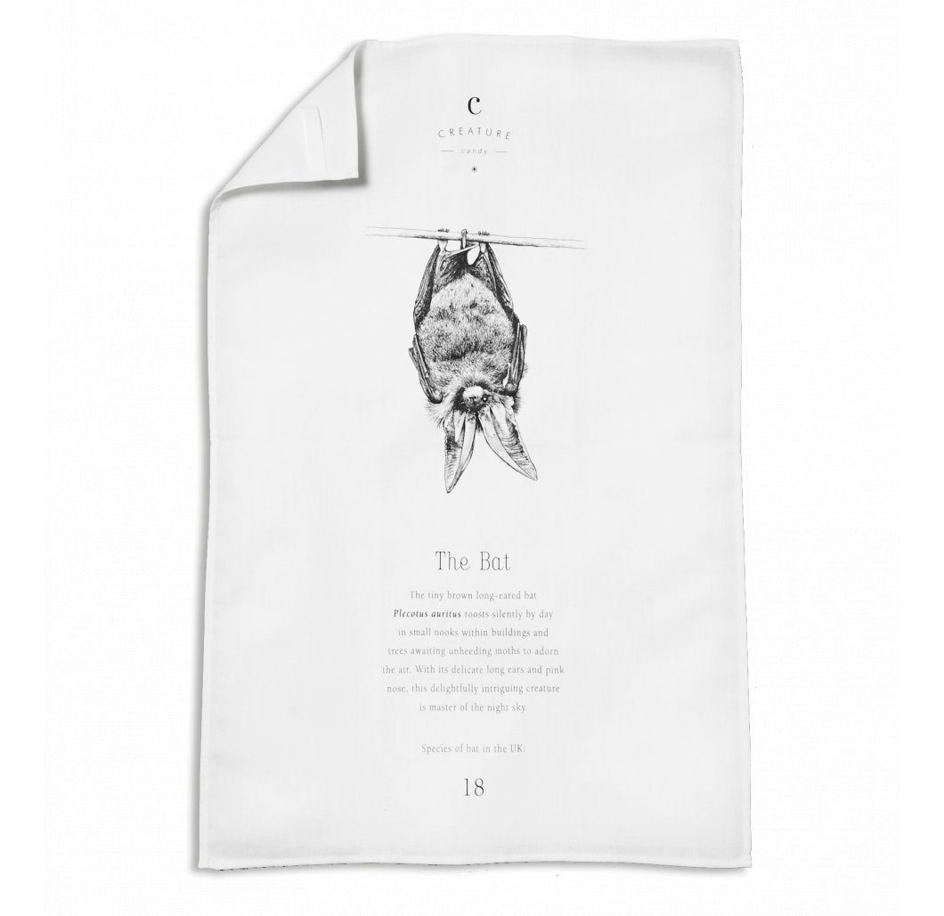 Brown Long-eared Bat Tea Towel