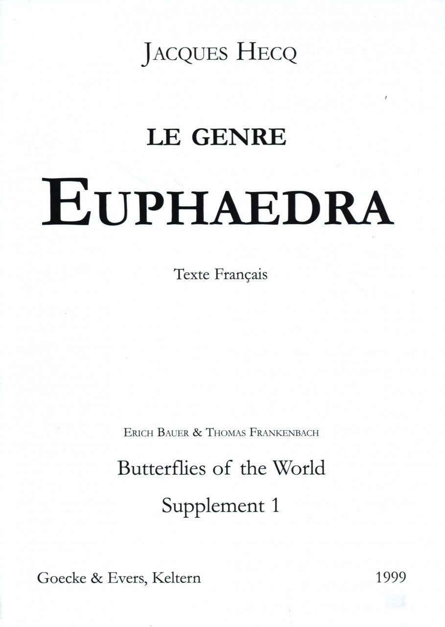 Butterflies of the World, Supplement 1 [French]