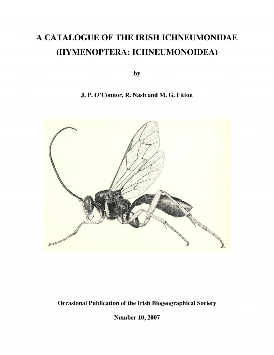 A Catalogue of the Irish Ichneumonidae (Hymenoptera: Ichneumonidae)