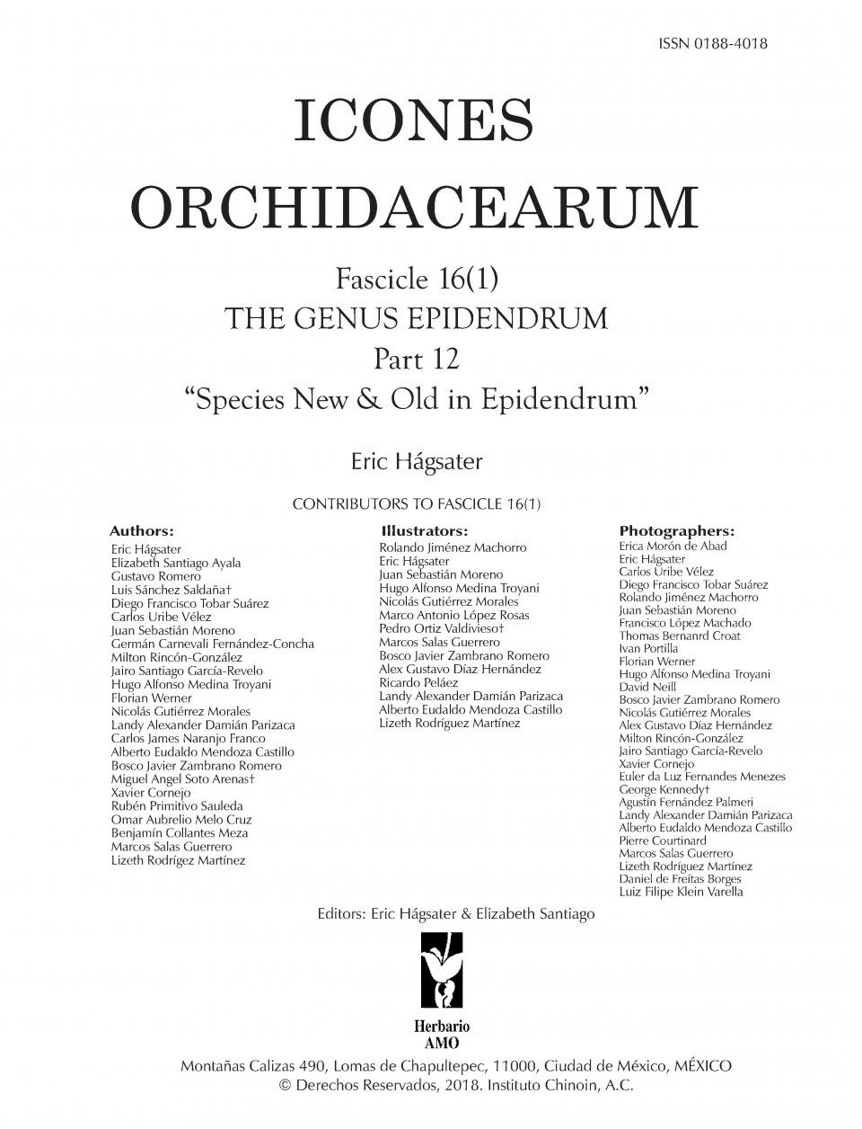 Icones Orchidacearum, Fascicle 16(1)