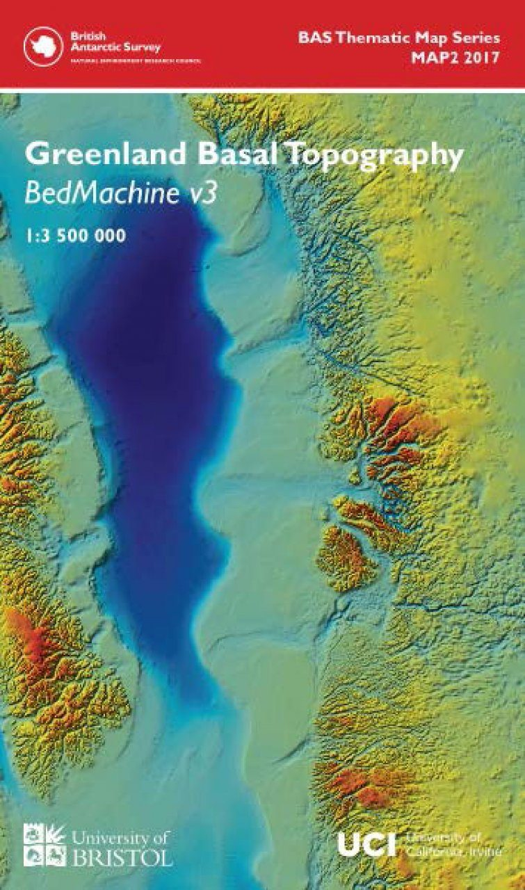 Greenland Basal Topography BedMachine v3 Wall Map