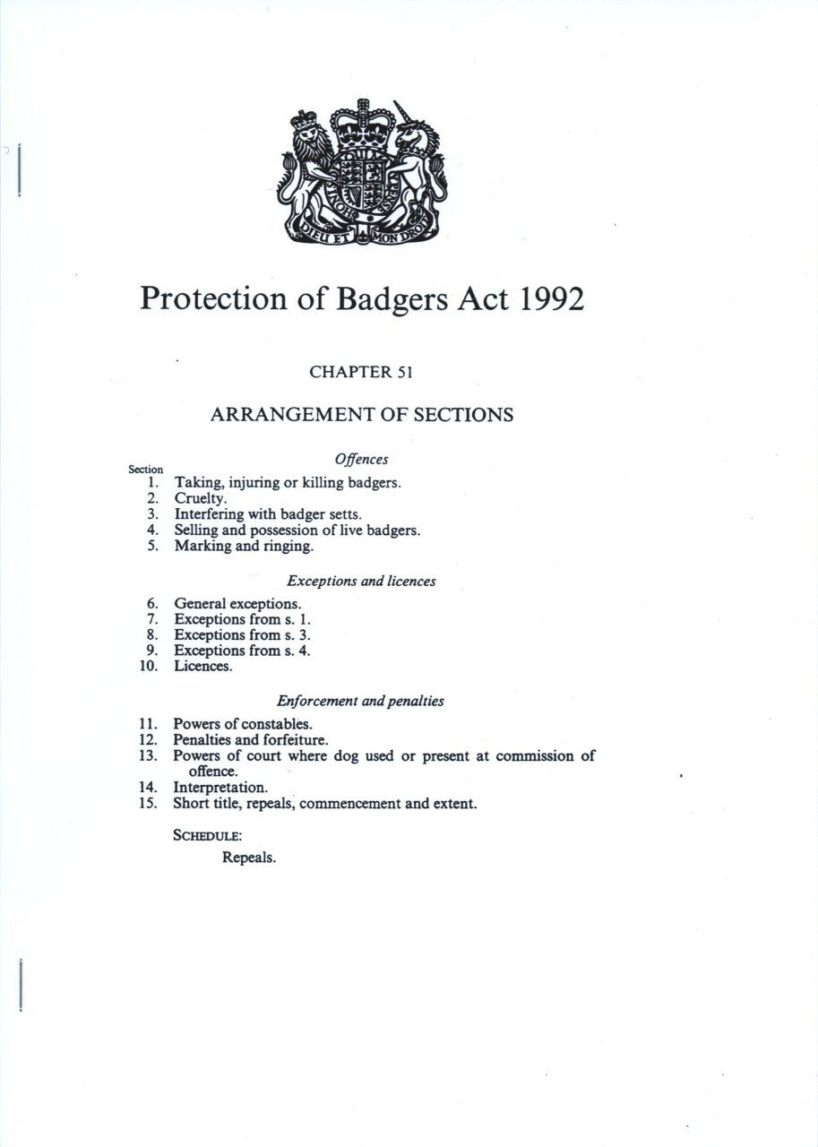 Protection of Badgers Act, 1992