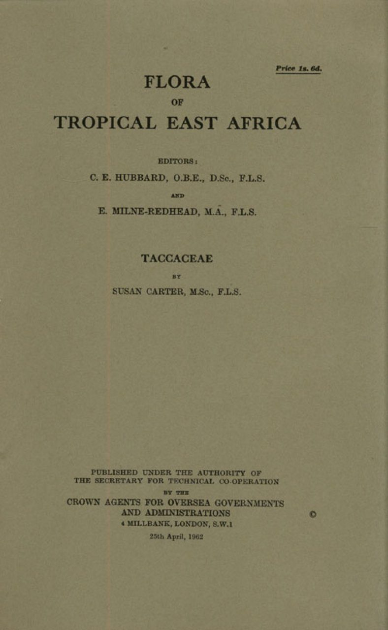 Flora of Tropical East Africa: Taccaceae