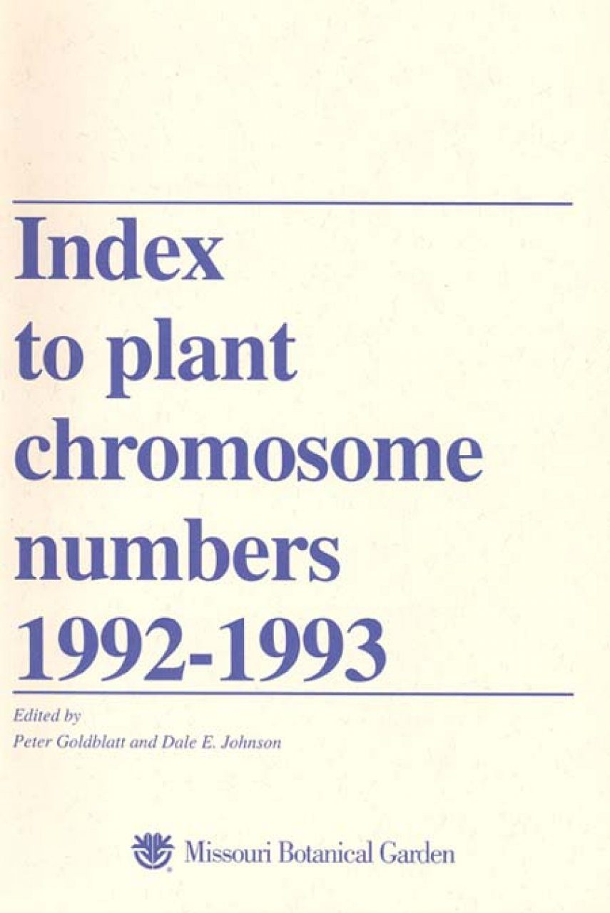 Index to Plant Chromosome Numbers, 1992-1993