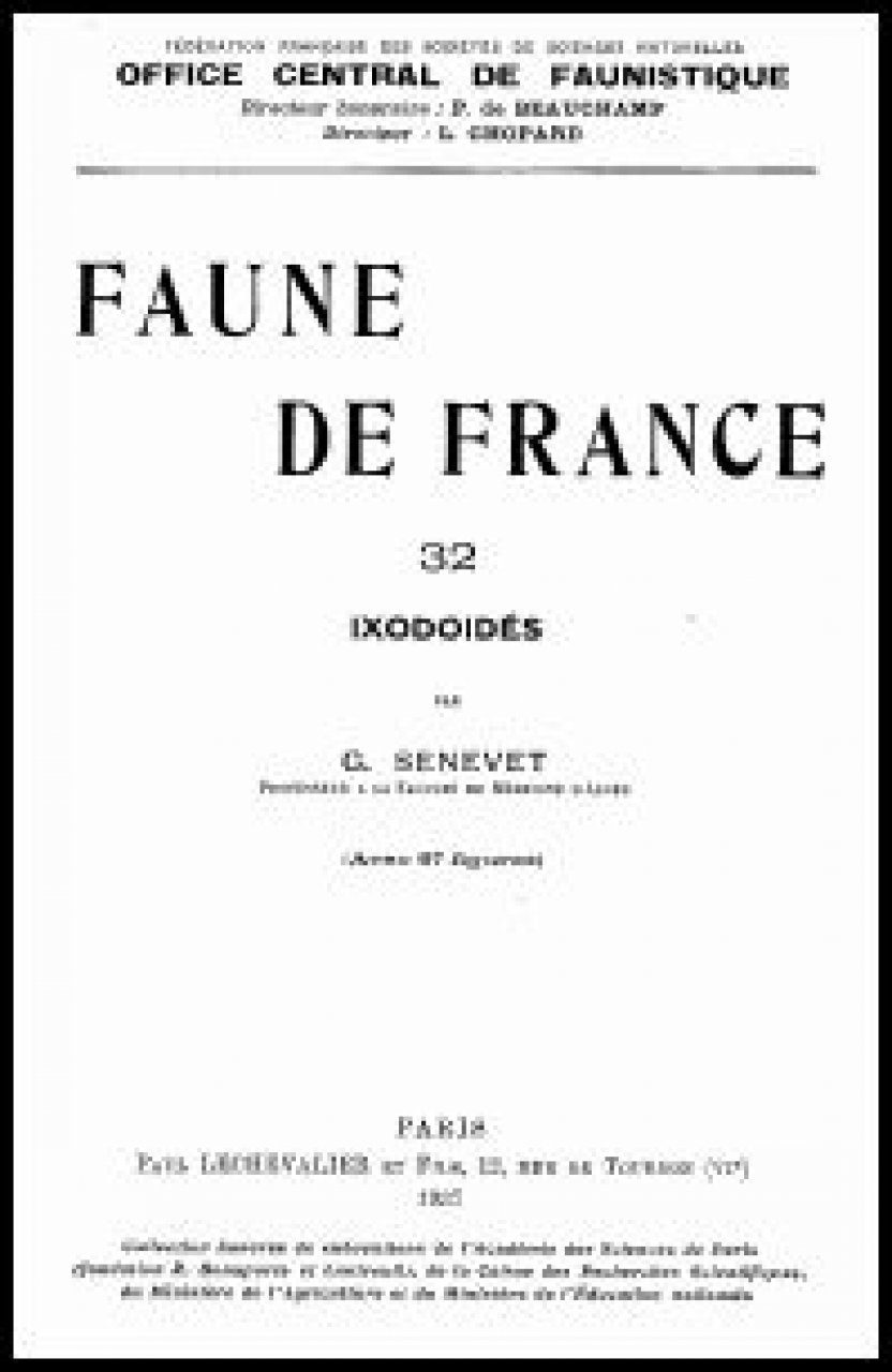 Faune de France, Volume 32: Ixodoidés